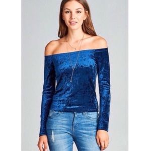 Tops - Blue Crushed Velvet Off Shoulder Top